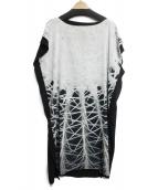 PLAIN PEOPLE(プレインピープル)の古着「ブラウスワンピース」|ホワイト×ブラック