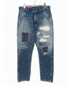 UNITED ARROWS & SONS(ユナイテッドアローズアンドサンズ)の古着「刺し子デニムパンツ」 インディゴ