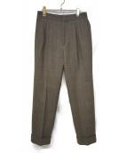 H BEAUTY&YOUTH(エイチ ビューティアンドユース)の古着「REVER CHECK WIDE PANTS」|ブラウン