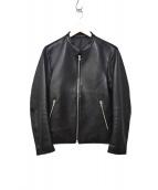 LIDnM(リドム)の古着「ラムレザーシングルライダースジャケット」 ブラック