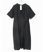 Lautashi(ラウタシー)の古着「ヴァージンウール/リネン混カシュクールワンピース」 ブラック