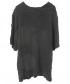 Lautashi(ラウタシー)の古着「フリンジシームシルクブラウス」 ブラック