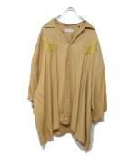 Jieda(ジエダ)の古着「刺繍オープンカラーシャツ」|イエロー