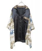 ichiryu made(イチリュウメイド)の古着「総柄リメイクシャツ」|ネイビー