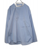 ANITYA(アニティア)の古着「アシンメトリープルオーバーバンドカラーシャツ」|ライトブルー