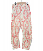 VIVIENNE WESTWOOD ANGLOMANIA(ヴィヴィアンウエストウッド アングロマニア)の古着「チマヨ柄ストレートパンツ」 アイボリー×ピンク