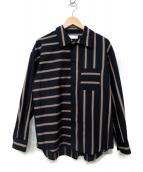 ETHOSENS(エトセンス)の古着「クレイジーパターンワイドシャツ」|ネイビー