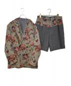 Casely-Hayford(ケイスリー ヘイフォード)の古着「3ピースセットアップスーツ」 カーキ×ピンク