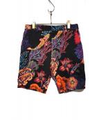 Paul Smith(ポールスミス)の古着「KOI HAWAIIAN SHORT PANTS」 ブラック×レッド