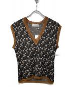 mame kurogouchi(マメ クロゴウチ)の古着「Pedicel Knit Sleeveless Tops」|ブラック×ブラウン