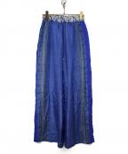 sara mallika(サラマリカ)の古着「総柄シルクパンツ」|ネイビー