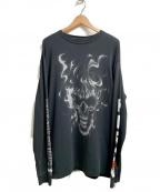 HERON PRESTON()の古着「B&W Skull LS T-Shirt」|ブラック