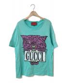 GUCCI(グッチ)の古着「19S/S TIGER PRINT LOGO T-SHIRT」|ターコイズ