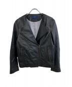 SHIPS(シップス)の古着「ノーカラーレザージャケット」|ブラック