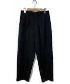 Ys(ワイズ)の古着「ギャバウールタックワイドパンツ」 ブラック
