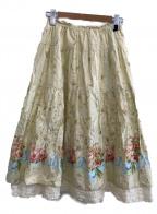 PINK HOUSE(ピンクハウス)の古着「総柄スカート」|アイボリー