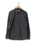 ()の古着「17S/S 襟刺繍比翼シャツ」 ブラック