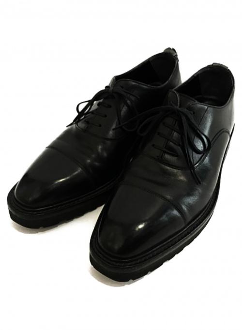 W.H(ダブルエイチ)W.H (ダブルエイチ) 内羽根カーフレザーストレートチップシューズ ブラック サイズ:75の古着・服飾アイテム