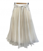Belle vintage(ベルビンテージ)の古着「デニムドッキングボリュームチュールスカート」 ホワイト