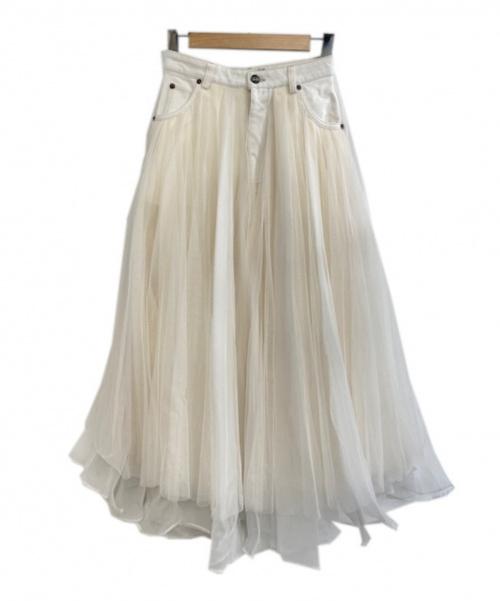 Belle vintage(ベル ビンテージ)Belle vintage (ベルビンテージ) デニムドッキングボリュームチュールスカート ホワイト サイズ:Mの古着・服飾アイテム