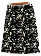 Paul Stuart(ポールスチュアート)の古着「モノトーンリーフJQスカート」|ブラック