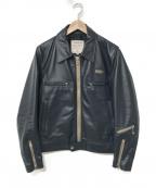 Lewis Leathers(ルイスレザース)の古着「シングルライダースジャケット」 ネイビー