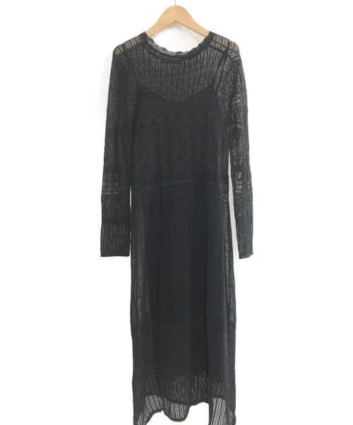 Noble(ノーブル)Noble (ノーブル) 20AW ランダムパターンニットワンピース ブラック サイズ:FREEの古着・服飾アイテム