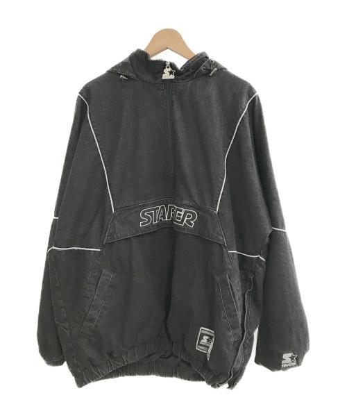STARTER BLACK LABEL(スターター・ブラックレーベル)STARTER BLACK LABEL (スターター・ブラックレーベル) USEDデニムアノラックジャケット ブラック サイズ:Lの古着・服飾アイテム