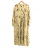 eimee law(エイミーロウ)の古着「ドライフラワー柄スタンドカラーシャツワンピース」 イエロー
