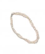NO BRAND(ノーブランド)の古着「3連本真珠ネックレス」 ホワイト