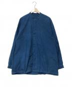 E.TAUTZ(イートーツ)の古着「スタンドカラーシャツ」|ブルー