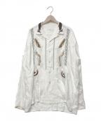 TOGA VIRILIS()の古着「レーヨンエンブロイダリーオープンカラーシャツ」|ホワイト