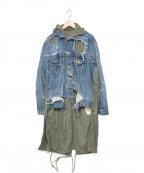 Maison MIHARA YASUHIRO(メゾン ミハラヤスヒロ)の古着「20A/W 13oz Broken Denim Layer」|ブルー×カーキ