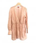 DES PRES(デプレ)の古着「ラミー カシュクールロングブラウス」|ピンク
