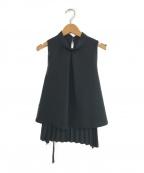 Lois CRAYON(ロイスクレヨン)の古着「ノースリーブバックプリーツブラウス」|ブラック