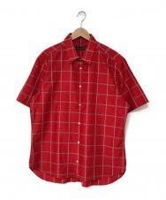 LOUIS VUITTON (ルイ ヴィトン) サイチェック柄 シルク 半袖シャツ レッド サイズ:XXL