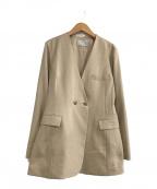 CELFORD(セルフォード)の古着「リネンライクノーカラージャケット」 ベージュ