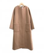 LE PHIL(ル フィル)の古着「ライトボンディングノーカラーコート」 ブラウン