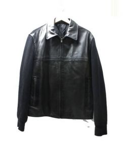 DKNY(ダナキャラン)の古着「切替レザージャケット」 ブラック