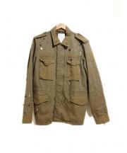 TAVERNITI SO JEANS(タバニティソージーンズ)の古着「ペインティングミリタリージャケット」 ブラウン
