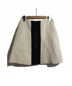 CARVEN(カルヴェン)の古着「コントラストパネルジップスカート」|アイボリー