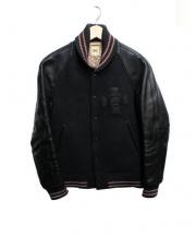 SCYEBASICS(サイベーシックス)の古着「レザースリーブスタジャン」|ブラック