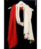 Edwina Horl(エドウィナホール)の古着「バイカラーストール」|ベージュ×レッド