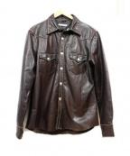 RED MOON(レッドムーン)の古着「ウエスタンレザーシャツ」|ブラウン
