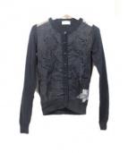 RED VALENTINO(レッドヴァレンティノ)の古着「シルク切替カーディガン」|ブラック