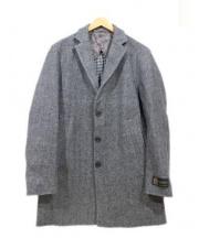 EDIFICE(エディフィス)の古着「ダブルクロスチェスターコート」|グレー×ブラック