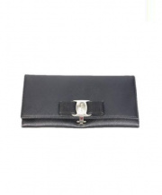 Salvatore Ferragamo(サルヴァトーレ フェラガモ)の古着「ヴァラリボン長財布」|ブラック