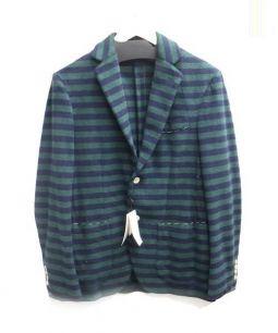 TOMORROWLAND(トゥモローランド)の古着「パイルテーラードジャケット」 グリーン×ネイビー