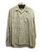 PHIGVEL(フィグベル)の古着「DELTA PATTERN OPEN COLLAR L/S 」|ベージュ