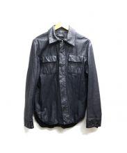 MARCO TAGLIAFERRI(マルコ タリアフェリ)の古着「ラムレザージャケット」|ネイビー(濃紺)